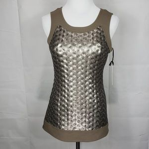  W by Worth Sequin Khaki Top Size 2